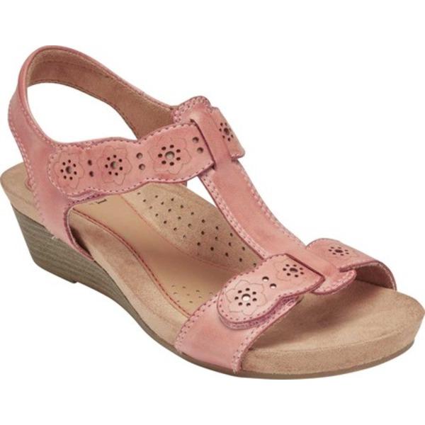 ロックポート レディース サンダル シューズ Cobb Hill Hollywood T Strap Sandal Light Rose Leather