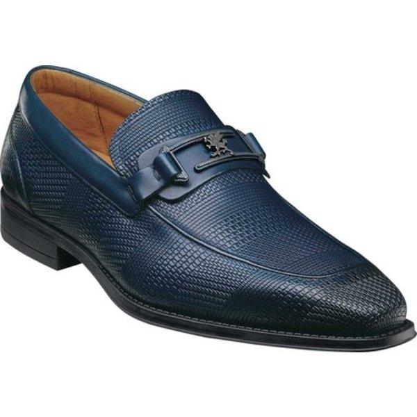 ステイシーアダムス メンズ ドレスシューズ シューズ Pomeroy Moc Toe Bit Loafer Ink Blue Leather