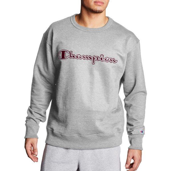 チャンピオン メンズ パーカー・スウェットシャツ アウター Champion Men's Powerblend Fleece Script Logo Applique Crewneck Sweatshirt OxfordGray
