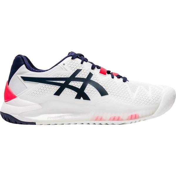 アシックス レディース テニス スポーツ Asics Women's GEL-Resolution 8 Tennis Shoes White/Peacoat