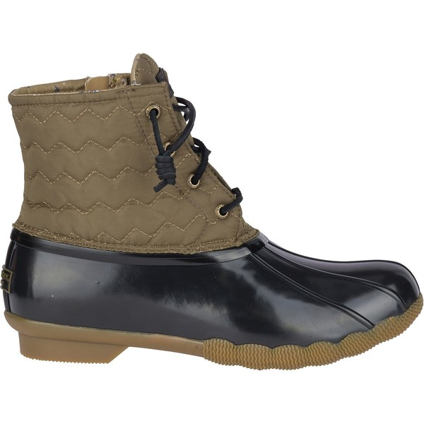 トップサイダー レディース ブーツ&レインブーツ シューズ Sperry Women's Saltwater Quilted Waterproof Duck Boots OliveBlack