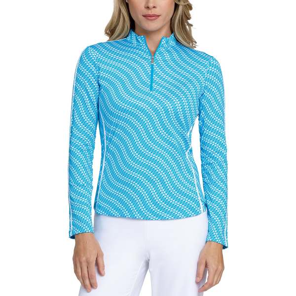 テイル レディース シャツ トップス Tail Women's Extended Size Printed Mock Neck -Zip Golf Pullover AtomicBlue