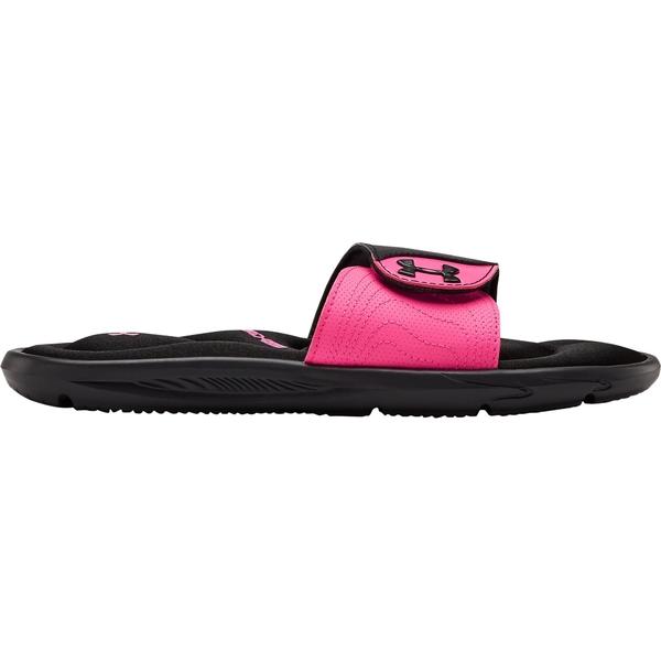 Under Armour WEB限定 レディース シューズ サンダル Black Pink Slides Women's 全商品無料サイズ交換 IX Ignite アンダーアーマー 倉