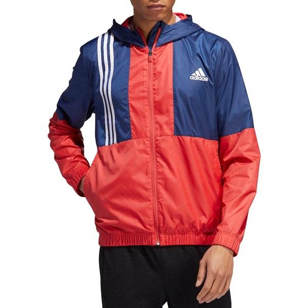 アディダス メンズ ジャケット&ブルゾン アウター adidas Men's Axis Wind Jacket GloryRed/TechIndigo/Wht