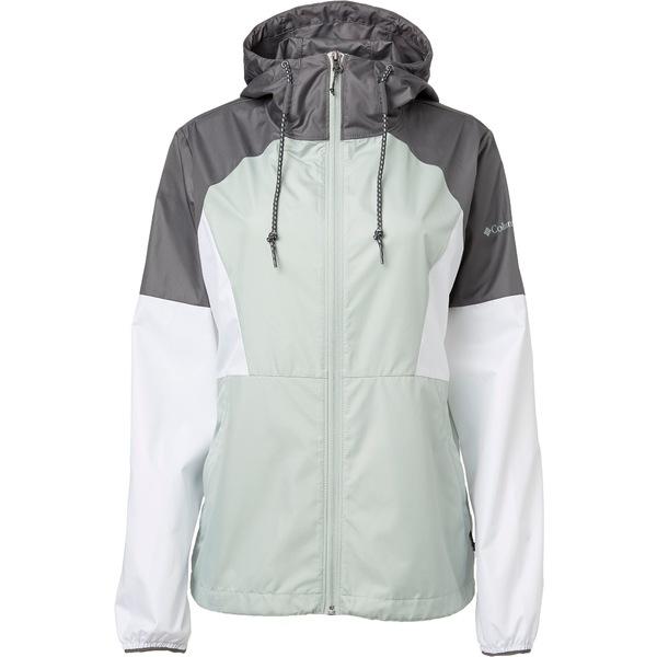 コロンビア レディース ジャケット&ブルゾン アウター Columbia Women's Side Hill Windbreaker Jacket CITYGREY/WHITE/COOLGREEN