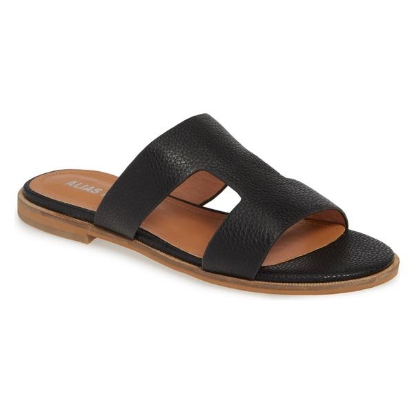 アイアスマエ レディース サンダル シューズ Alias Mae Thaia Cutout Slide Sandal (Women) Black Leather