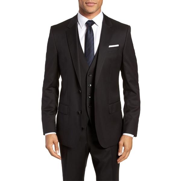 ボス メンズ ジャケット&ブルゾン アウター BOSS Hayes CYL Slim Fit Solid Wool Sport Coat Black