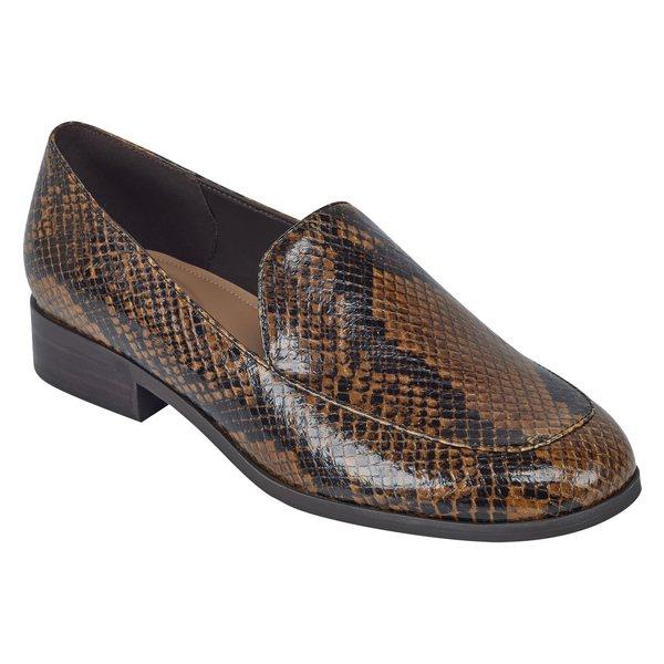 イヴァルヴ レディース サンダル シューズ evolve Pip6 Apron Toe Loafer Flat (Women) Med. Brown Leather