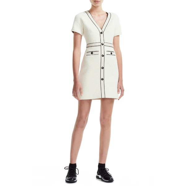 マージュ レディース ワンピース トップス maje Roppy Cotton Tweed Short Sleeve Minidress Ecru