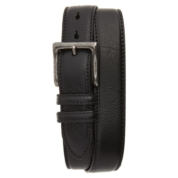 トリノ メンズ ベルト アクセサリー Torino Calfskin Leather Belt Black