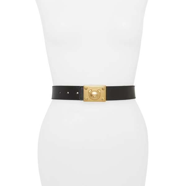 モスキーノ レディース ベルト アクセサリー Moschino Teddy Plaque Buckle Leather Belt Fantasy Black/ Gold