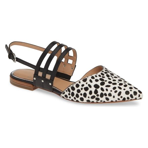 リネアパウロ レディース サンダル シューズ Linea Paolo Dahlia Pointy Toe Flat (Women) White/ Black Calf Hair