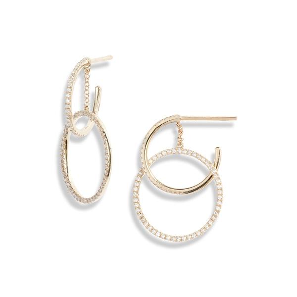 エフコレクション レディース ピアス&イヤリング アクセサリー EF COLLECTION Interlocking Pav Diamond Hoop Earrings Yellow Gold/ Diamond