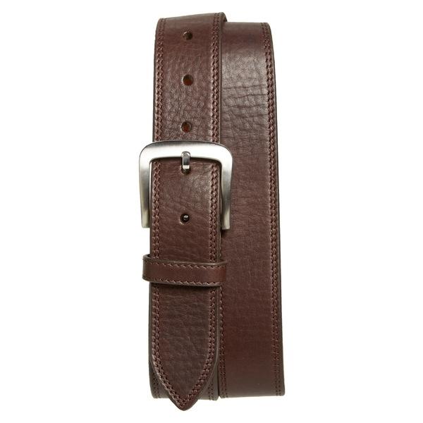 シャイノーラ メンズ ベルト アクセサリー Shinola Double Stitch Leather Belt Deep Brown
