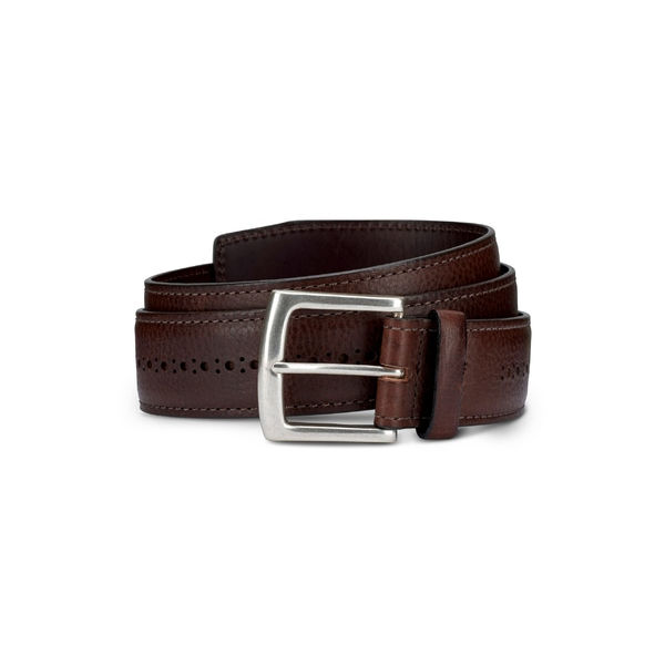 アレン エドモンズ メンズ ベルト アクセサリー Allen Edmonds Brogue Street Leather Belt Brown