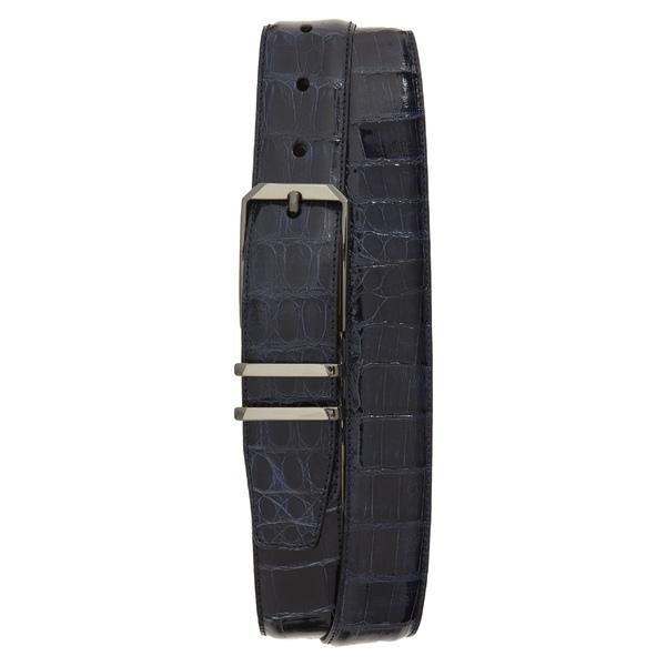 メズラン メンズ ベルト アクセサリー Mezlan Crocodile Leather Belt Blue