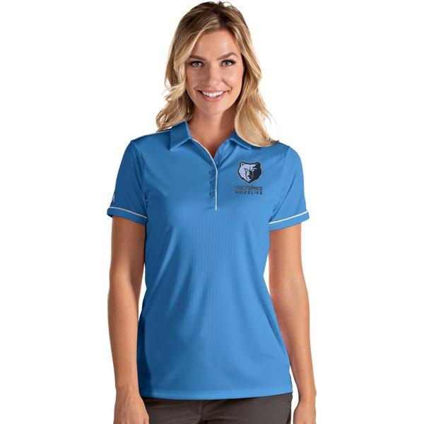 Antigua レディース トップス お見舞い ポロシャツ Light Blue White 全商品無料サイズ交換 Grizzlies アンティグア Memphis Women's Polo Shirt Salute 新色追加