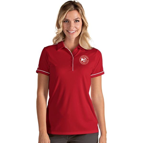 使い勝手の良い Antigua レディース トップス ポロシャツ Red White 全商品無料サイズ交換 Atlanta アンティグア Polo Hawks Shirt 選択 Salute Women's