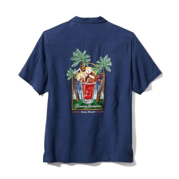 リアル トッミーバハマ メンズ シャツ トップス Men&39;s Hail Mary Embroidered Floral Jacquard Silk Camp Shirt Bering Blue, Luminous stick 09e5b6f4