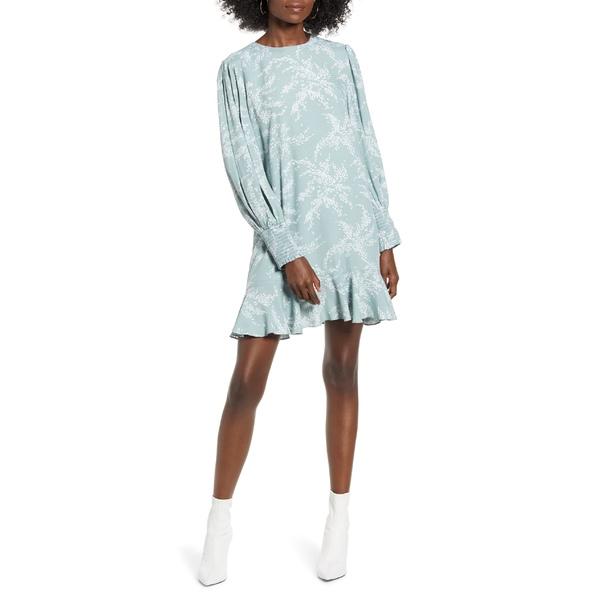 イングリッシュファクトリー レディース ワンピース トップス English Factory Flounce Hem Long Sleeve Dress Green