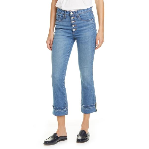 ヴェロニカ ベアード レディース カジュアルパンツ ボトムス Veronica Beard Carolyn Stripe Hem Crop Baby Boot Jeans (Pacific Blue) Pacific Blue