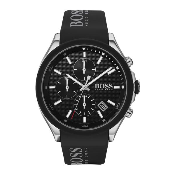ボス メンズ 腕時計 アクセサリー BOSS Velocity Chronograph Rubber Strap Watch, 45mm Black/ Silver