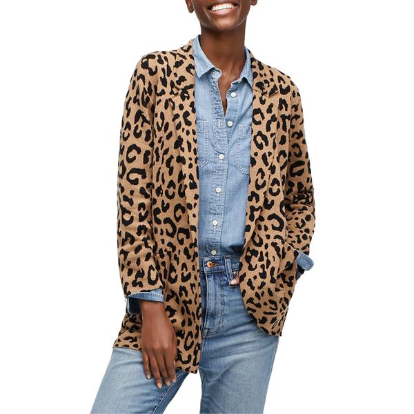 ジェイクルー レディース ジャケット&ブルゾン アウター J.Crew Sophie Leopard Print Open Front Sweater Blazer Hthr Acorn Black