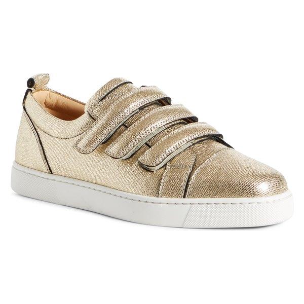 クリスチャン・ルブタン レディース スニーカー シューズ Christian Louboutin Kiddo Donna Three Strap Leather Sneakers Platine