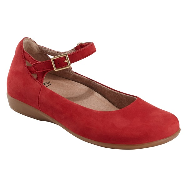 アース レディース サンダル シューズ Earth Alma Mary Jane Flat (Women) Bright Red Nubuck Leather