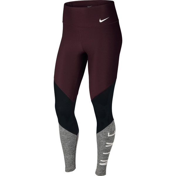 ナイキ レディース レギンス ボトムス Power Mid-Rise Mesh Training Tights - Women's Burgundy Crush