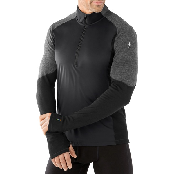 スマートウール メンズ シャツ トップス PhD Light Wind Half-Zip Shirt - Men's Black