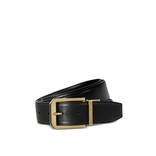 エルメネジルド・ゼニア メンズ ベルト アクセサリー Ermenegildo Zegna Black Calf Leather Men's Belt Black