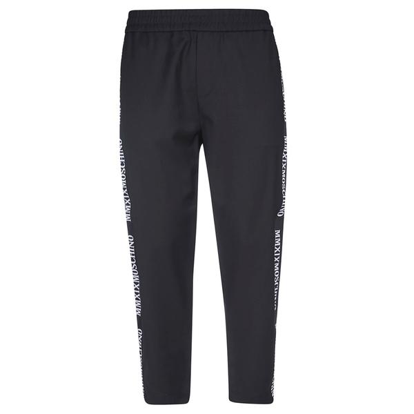 モスキーノ メンズ カジュアルパンツ ボトムス Moschino Side Logo Print Trousers Black