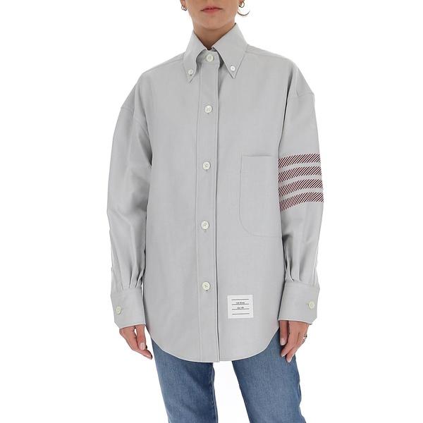 大注目 トムブラウン レディース カットソー トップス Thom Browne 4-Bar Oversize Shirt -, スズシ c9fbfd36