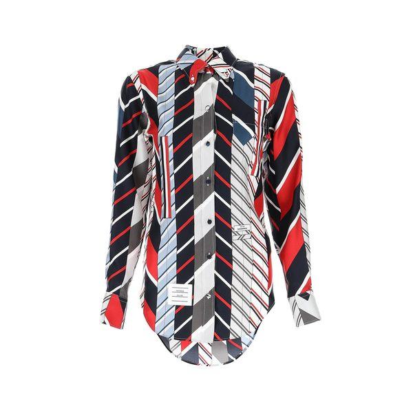 【期間限定特価】 トムブラウン レディース カットソー トップス Thom Browne Striped Tie Print Shirt -, スマホケースのTomSawyer f4eed545