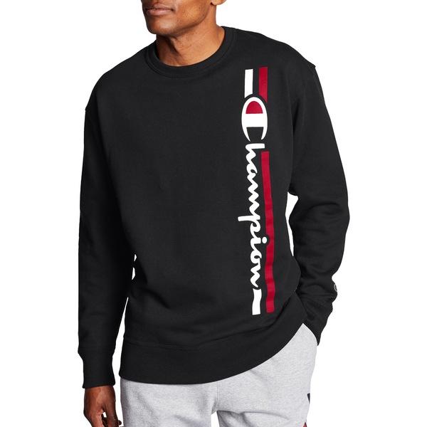チャンピオン メンズ パーカー・スウェットシャツ アウター Champion Men's Powerblend Vertical Script Crewneck Sweatshirt Black
