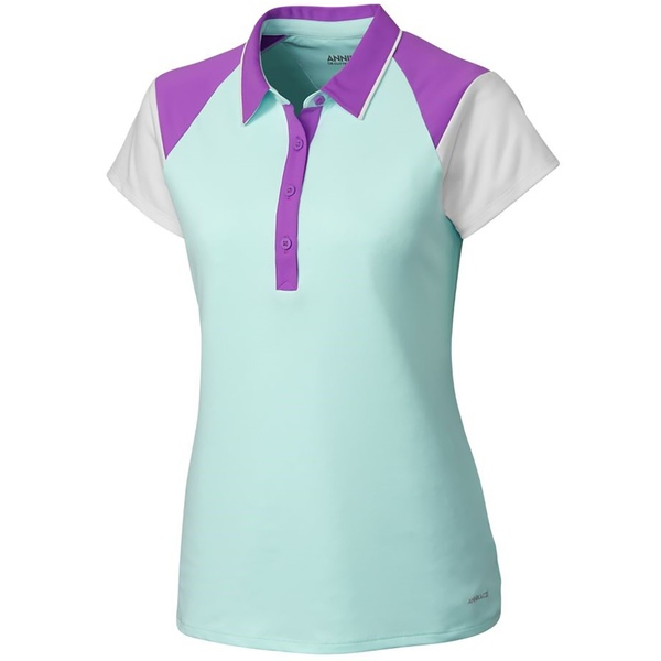 アニカ レディース シャツ トップス Cutter & Buck Women's Annika Players Colorblock Golf Polo Sonic