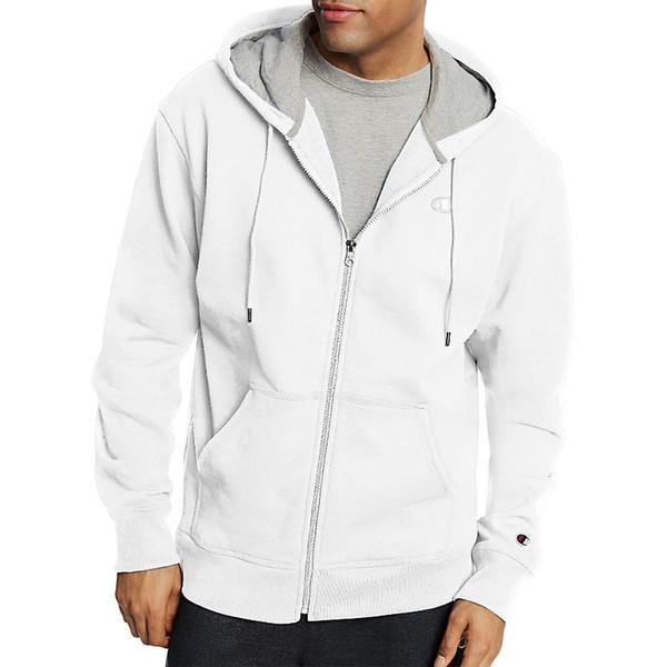 チャンピオン メンズ パーカー・スウェットシャツ アウター Champion Men's Powerblend Full Zip Fleece Hoodie White