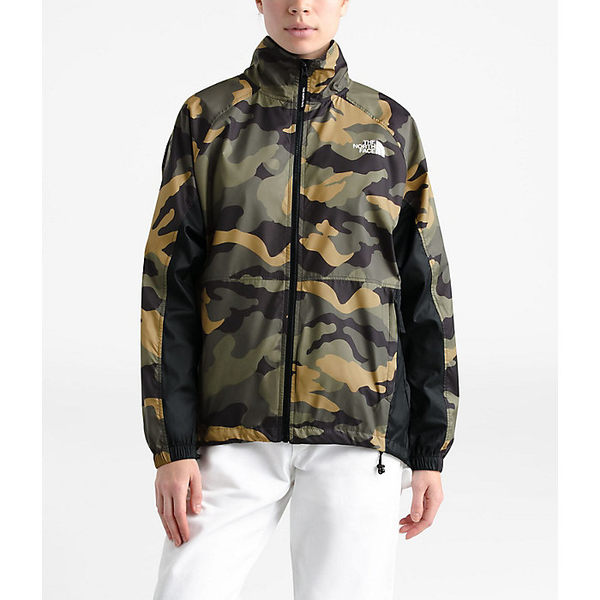 ノースフェイス レディース ジャケット&ブルゾン アウター The North Face Women's NSE Graphic Wind Jacket Burnt Olive Green Woods Camo Print / TNF Black