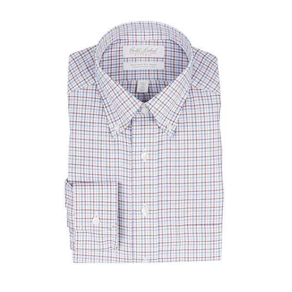 ランドツリーアンドヨーク メンズ シャツ トップス Gold Label Roundtree & Yorke Non-Iron Fitted Button-Down Collar Checked Dress Shirt Brick Multi