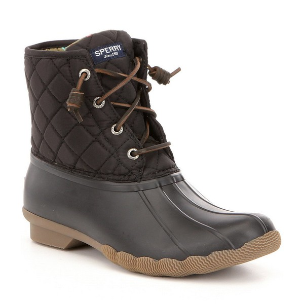 スペリー レディース ブーツ&レインブーツ シューズ Saltwater Quilted Waterproof Matte Lace Up Duck Winter Boots Black/Multi