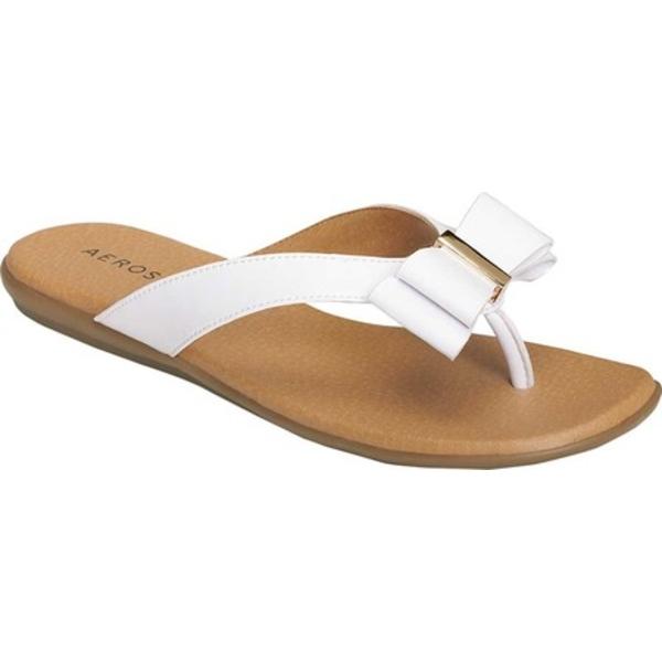 エアロソールズ レディース サンダル シューズ Cassville Thong Sandal White Faux Leather