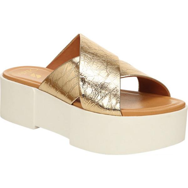 サルトバイフランコサルト レディース サンダル シューズ Dyanna Platform Slide Gold Paper Metallic Leather