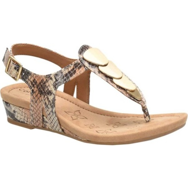 コンフォーティバ レディース スニーカー シューズ Summit T-Strap Sandal Caramel Multi Exotic Snake Print Leather