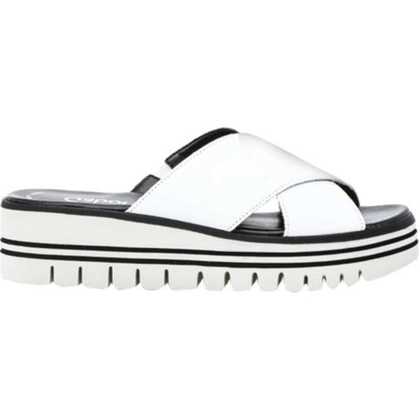 ガボール レディース サンダル シューズ 44-620 Two Strap Wedge Slide White Leather