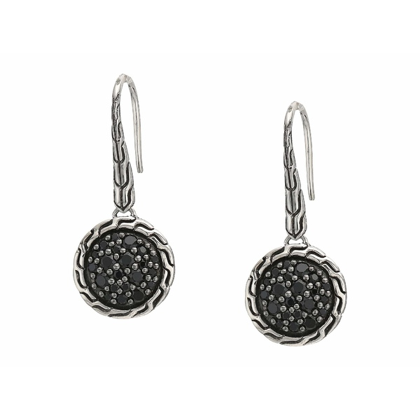 ジョン・ハーディー レディース ピアス&イヤリング アクセサリー Classic Chain Round Drop Earrings on French Wire w/ Black Sapphire and Black Spinel Silver