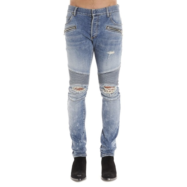 バルマン メンズ デニムパンツ ボトムス Balmain 'biker' Jeans Blue