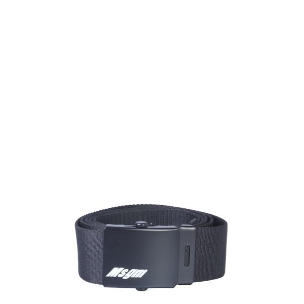 エムエスジイエム メンズ ベルト アクセサリー MSGM Belt With Logoed Buckle NERO
