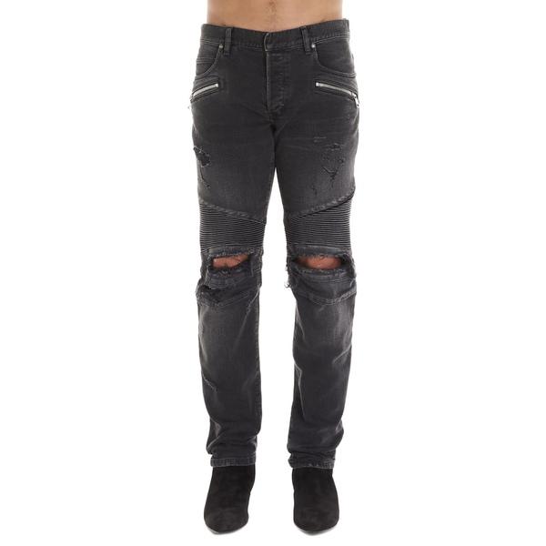 バルマン メンズ デニムパンツ ボトムス Balmain 'biker' Jeans Grey
