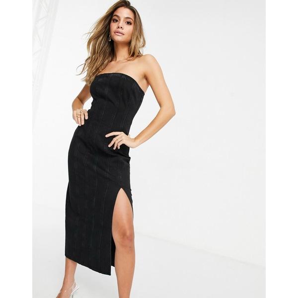 エイソス レディース トップス ワンピース Black 全商品無料サイズ交換 ASOS DESIGN midi Hourglass denim black washed dress in 海外並行輸入正規品 seamed 在庫一掃